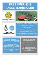 Free Table Tennis for over 50s Wednesdays 1.30 - 2.30pm starts 5th September 2018