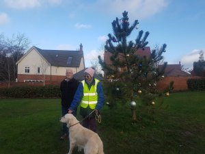 Cllrs decorate the tree on The Green